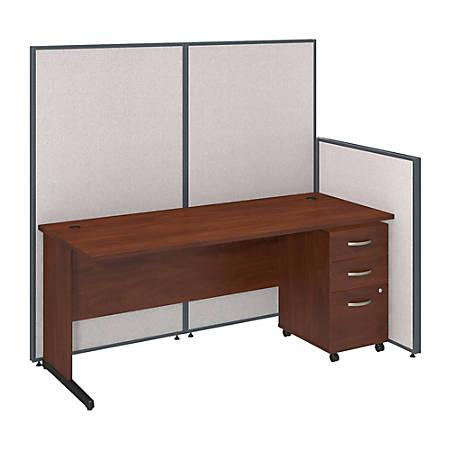 "Bush Business Furniture C Leg Desk and 3 Drawer Mobile Pedestal with ProPanels, 72""W, Light Gray, Standard Delivery"