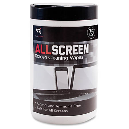 Advantus Read/Right AllScreen Screen Cleaning Wipes - For Display Screen - Alcohol-free, Ammonia-free - 75 - 1 Each - Assorted