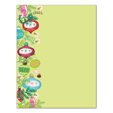 """Great Papers!® Holiday Stationery, 8 1/2"""" x 11"""", Whimsy Ornaments, Pack Of 80 Sheets"""