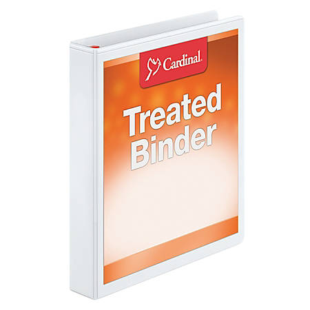"Treated ClearVue Locking D-Ring Binders, 1"" Rings, 57% Recycled, White"