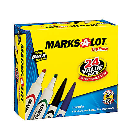 Avery® Desk/Pen Style Dry Erase Marker Combo Pack - Chisel, Bullet Marker Point Style - Assorted Barrel - 24 / Box