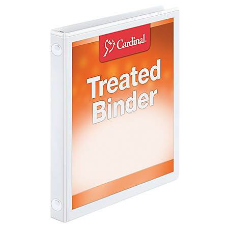 """Treated ClearVue™ Locking Round-Ring Binder, 5/8"""" Rings, 52% Recycled, White"""