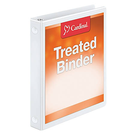 "Treated ClearVue™ Locking Round-Ring Binder, 1"" Rings, 56% Recycled, White"