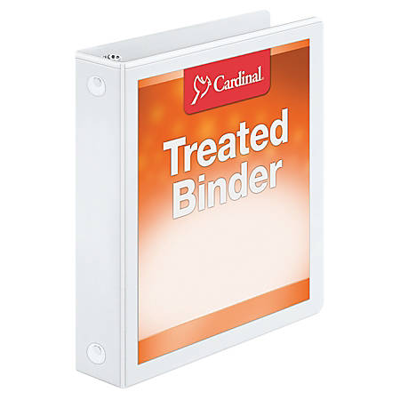 "Treated ClearVue™ Locking Round-Ring Binder, 1 1/2"" Rings, 52% Recycled, White"