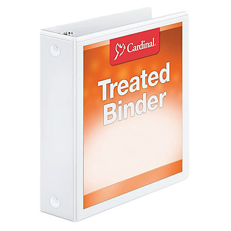 "Treated ClearVue™ Locking Round-Ring Binder, 2"" Rings, 52% Recycled, White"