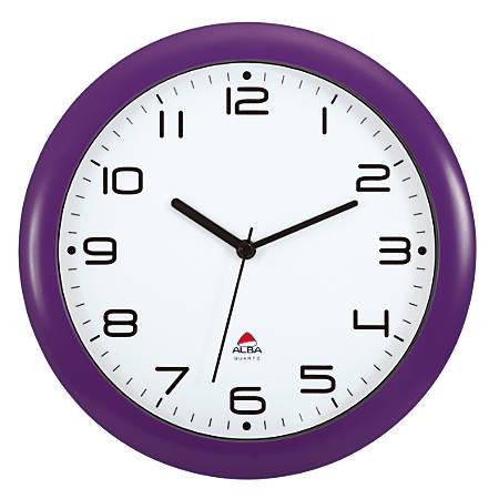 "Alba Silent Round Wall Clock, 12"" Diameter, Purple"