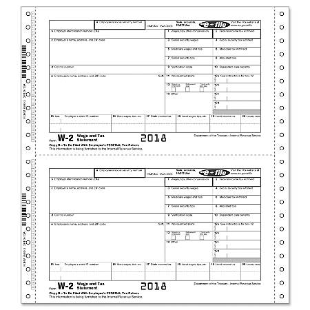 """ComplyRight™ W-2 Continuous Tax Forms, Employee Copies B, C And 2, 3-Part, 9 1/2"""" x 11"""", Pack Of 100 Forms"""