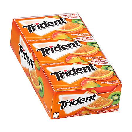 Trident® gum Sugar-Free Tropical Twist Gum, 14 Pieces Per Pack, Box Of 12 Packs