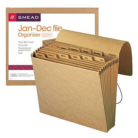 """Smead® Recycled Kraft Expanding File With Flap, January-December, 12"""" x 10"""", Brown"""