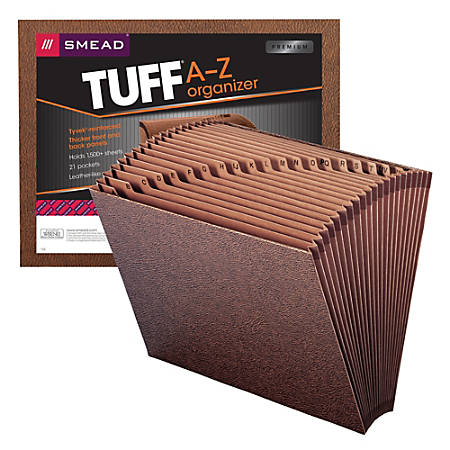 """Smead® TUFF® Expanding File With Open Top, 21 Pockets, A–Z, 12"""" x 10"""", Letter Size, 30% Recycled, Brown"""
