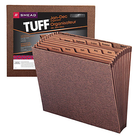 "Smead® TUFF® Expanding File With Open Top, 12 Pockets, Monthly, 12"" x 10"" Letter Size, 30% Recycled, Brown"