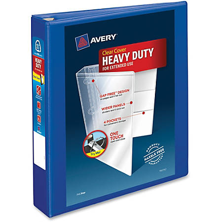 "Avery® Heavy-Duty View Binder With Locking EZD Rings, 1 1/2"" Rings, 41% Recycled, Pacific Blue"