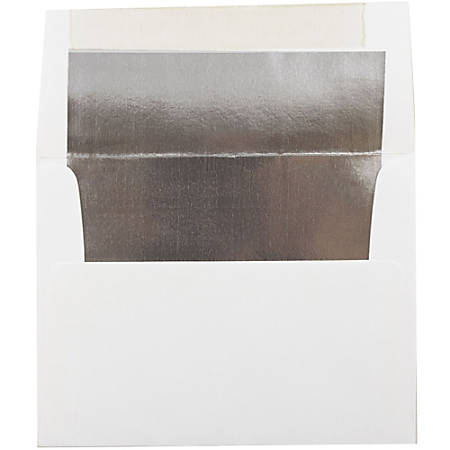 """JAM Paper® Booklet Invitation Envelopes, A2, 4 3/8"""" x 5 3/4"""", Silver/White, Pack Of 25"""