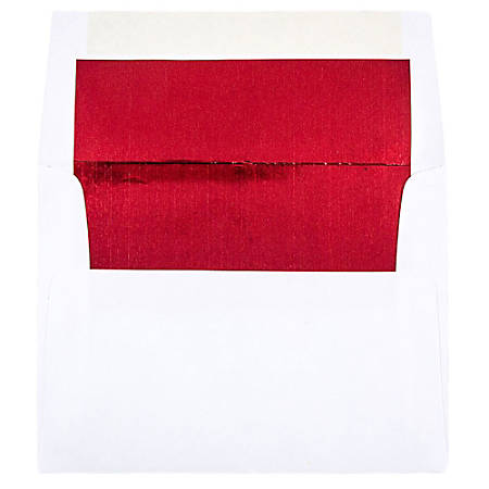 "JAM Paper® Booklet Invitation Envelopes, A2, 4 3/8"" x 5 3/4"", Red/White, Pack Of 25"