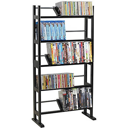 """Atlantic Element 230 CDs Or 150 DVDs Or 185 Bluray In Espresso - 230 x CD, 150 x DVD, 185 x Blu-ray - 5 Compartment(s) - 5 Tier(s) - 41"""" Height x 10"""" Width - Espresso - Wood, Metal"""