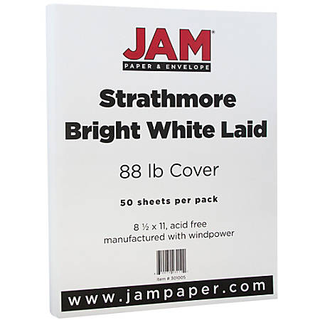 """JAM Paper® Cover Card Stock, 8 1/2"""" x 11"""", 88 Lb, Strathmore Bright White Linen, Pack Of 50 Sheets"""