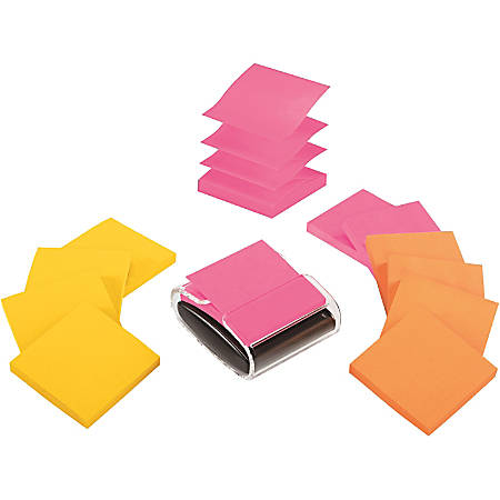 "Post-it® Notes Pop-Up Notes With Dispenser, 3"" x 3"", Assorted Colors, Pack Of 12 Pads"