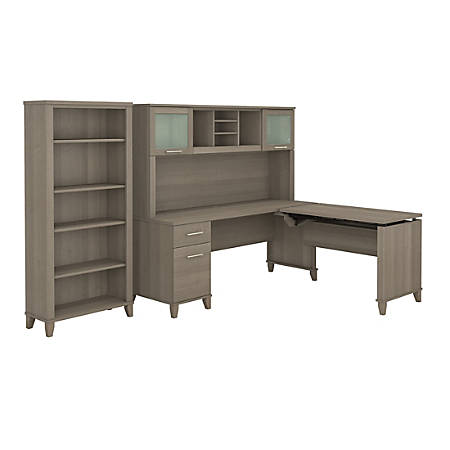 """Bush Furniture Somerset 72""""W 3 Position Sit to Stand L Shaped Desk With Hutch And Bookcase, Ash Gray, Standard Delivery"""
