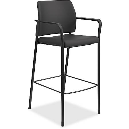 HON® Accommodate Cafe Stool, Fixed Arms, Fabric, Black