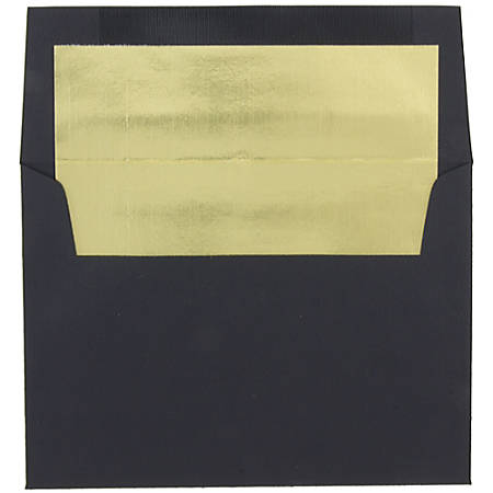"""JAM Paper® Booklet Envelopes, A8, 5 1/2"""" x 8 1/8"""", 30% Recycled, Black/Gold, Pack Of 25"""