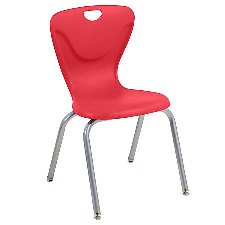 "ECR4Kids Contour Stacking Chairs, 32 5/8""H, Red/Silver, Set Of 4"