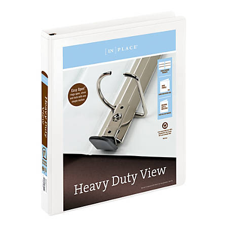 """Office Depot® Brand Heavy-Duty D-Ring View Binder, 1"""" Rings, 54% Recycled, White"""