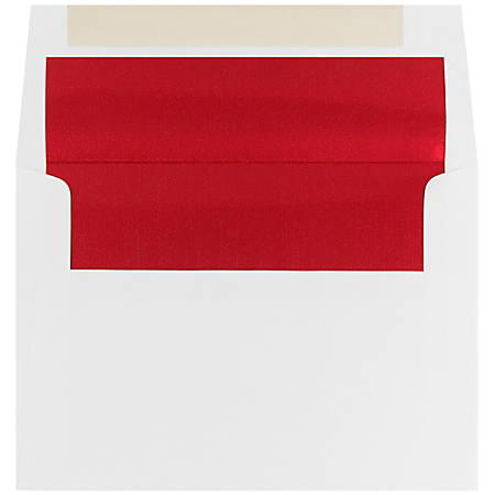 "JAM Paper® Foil-Lined Booklet Invitation Envelopes, A6, 4 3/4"" x 6 1/2"", Red/White, Pack Of 25"