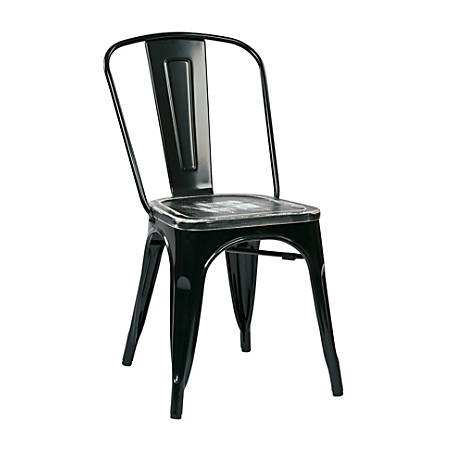 Office Star™ Bristow Armless Chairs with Wood Seats, Ash Crazy Horse/Black, Set Of 4 Chairs