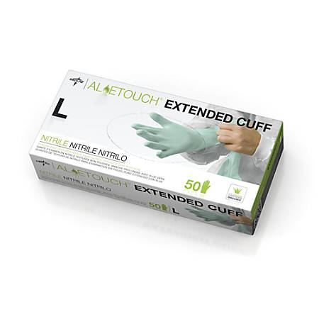 Medline Aloetouch® Disposable Powder-Free Nitrile Exam Gloves, Large, Green, Pack Of 500