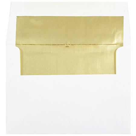"JAM Paper® Foil-Lined Booklet Invitation Envelopes, A7, 5 1/4"" x 7 1/4"", Gold/White, Pack Of 25"