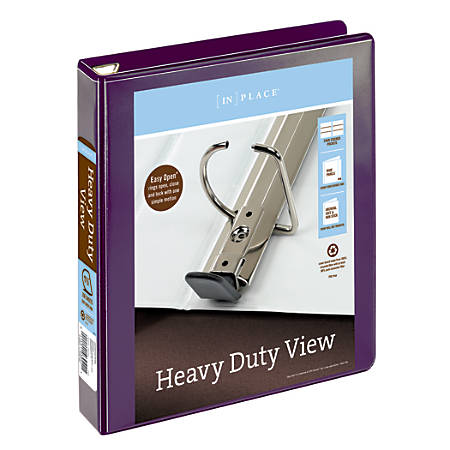 """Office Depot® Brand Heavy-Duty D-Ring View Binder, 1 1/2"""" Rings, 54% Recycled, Purple"""