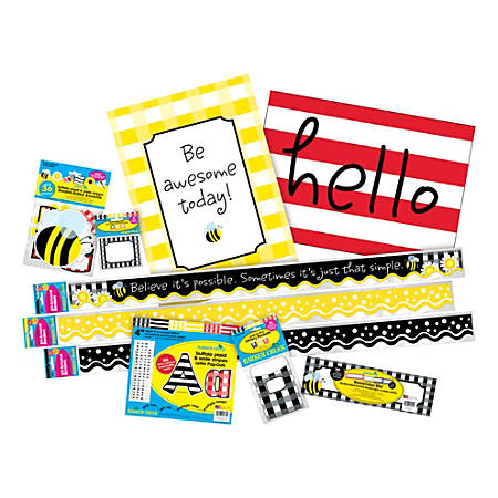 Barker Creek Classroom Décor Set, Be Awesome Buffalo Plaid And Wide Stripes, Pre-K To College