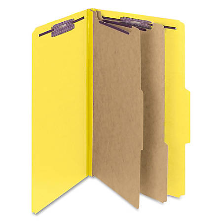 "Smead® Classification Folders, Pressboard With SafeSHIELD® Fasteners, 2 Dividers, 2"" Expansion, Legal Size, 50% Recycled, Yellow, Box Of 10"