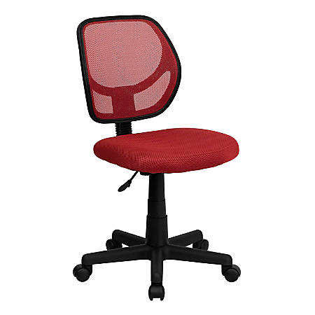 Flash Furniture Mesh Low-Back Swivel Chair, Red/Black
