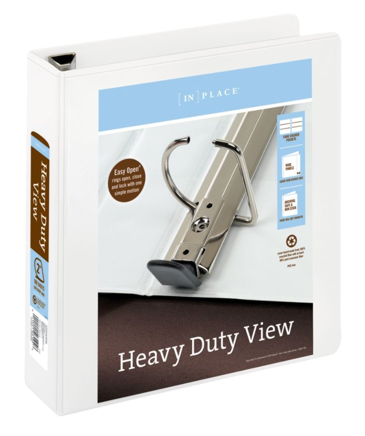 """Office Depot Brand Heavy-Duty 2"""" D-Ring View Binder, White"""