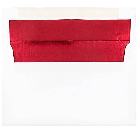 "JAM Paper® Foil-Lined Invitation Envelopes, A9, 5 3/4"" x 8 3/4"", Red/White, Pack Of 25"
