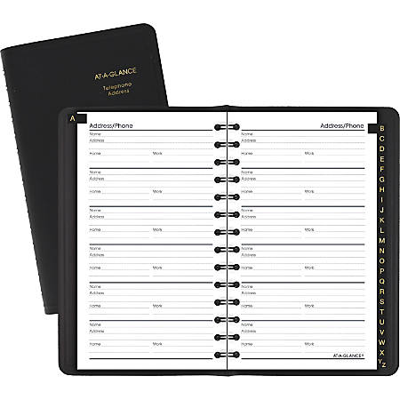 "AT-A-GLANCE® Telephone/Address Book, 3 3/4"" x 6 1/8"", Black"