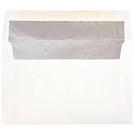 "JAM Paper® Booklet Invitation Envelopes, A10, 6"" x 9 1/2"", Silver/White, Pack Of 25"