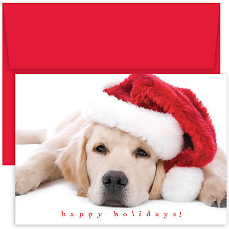 """Great Papers! Holiday Greeting Cards, 5 5/8"""" x 7 7/8"""", Santa Puppy, Pack Of 18"""