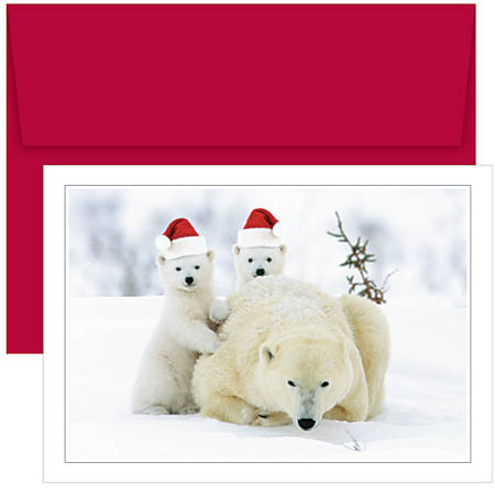 "Great Papers! Holiday Greeting Cards, 5 5/8"" x 7 7/8"", Santa Bear Hats, Pack Of 18"