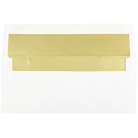 "JAM Paper® Booklet Envelopes With Gummed Closure, #10, 4 1/8"" x 9 1/2"", Gold/White, Pack Of 25"