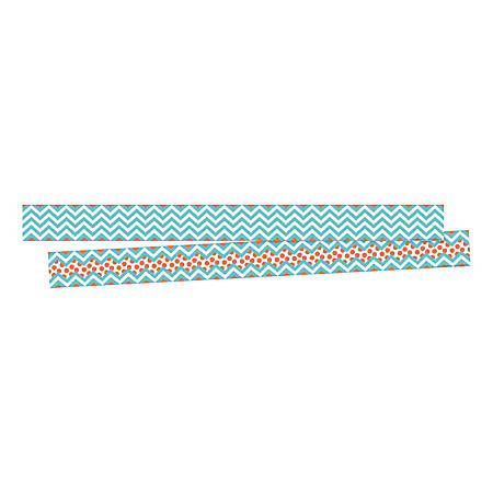 """Barker Creek Double-Sided Border Strips, 3"""" x 35"""", Chevron Turquoise, Set Of 24"""