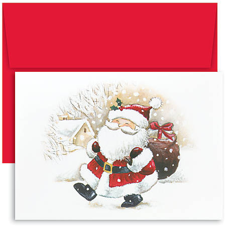 "Great Papers! Holiday Greeting Cards, 5 5/8"" x 7 7/8"", Happy Santa, Pack Of 18"