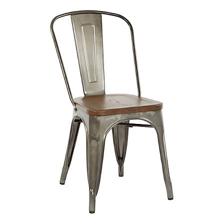 Office Star™ Indio Metal Chairs, Vintage Ash Walnut/Matte Gunmetal, Set Of 2 Chairs
