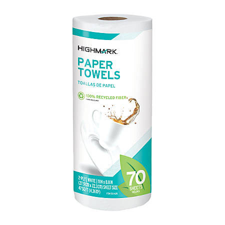 "Highmark® Brand 100% Recycled Paper Towels, 11"" x 9"", 70 Sheets Per Roll, Pack Of 15 Rolls"