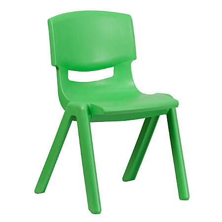 """Flash Furniture Plastic Stackable School Chair With 15-1/2"""" Seat Height, Green"""