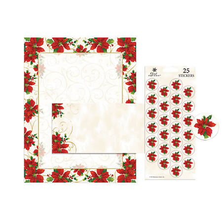 "Great Papers! Holiday Stationery Kit, 8 1/2"" x 11"", Poinsettia Swirl, Set Of 25"
