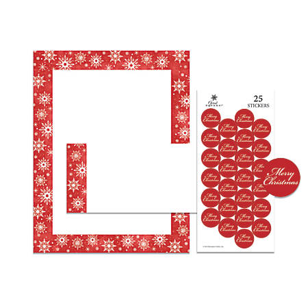 """Great Papers! Holiday Stationery Kit, 8 1/2"""" x 11"""", Snowy Flakes, Set Of 25"""