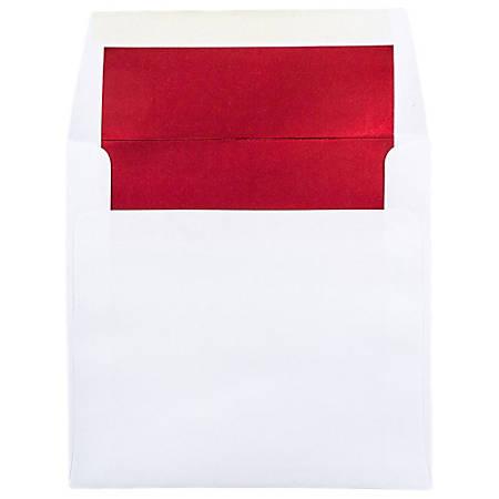 """JAM Paper® Foil-Lined Invitation Envelopes, 6"""" x 6"""", Red/White, Pack Of 25"""