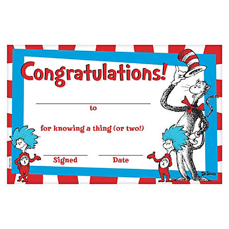 "Amscan Dr. Seuss Cat In The Hat Certificates, 5-1/2"" x 8-1/2"", Multicolor, 36 Certificates Per Pack, Set Of 3 Packs"